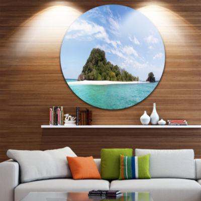 Designart Blue Koh Khai Island Panorama Large Seascape Art Metal Circle Wall Art