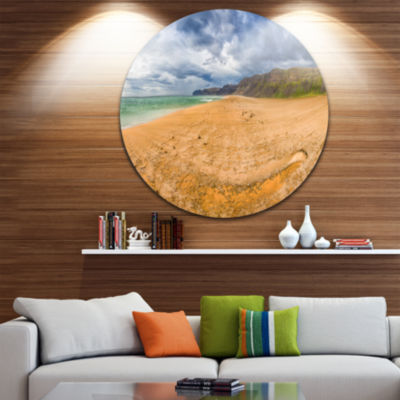 Designart Brown Beach by Arctic Sea Panorama Landscape Metal Circle Wall Art