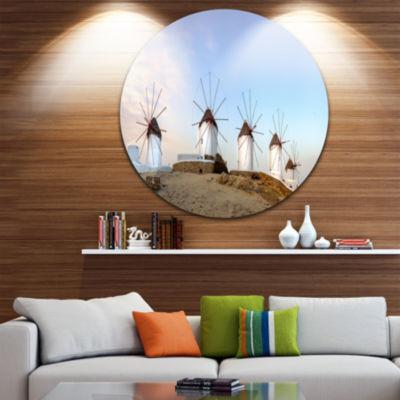 Designart Traditional Greek Windmills Panorama Landscape Metal Circle Wall Art