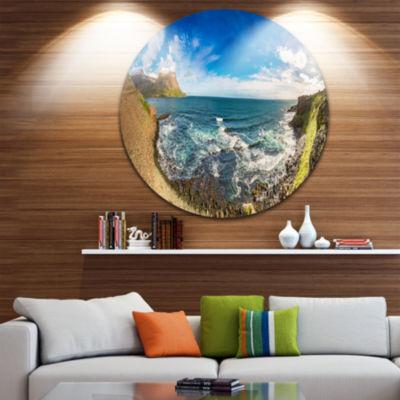 Designart Arctic Sea and Coastline Panoramic ViewLandscape Metal Circle Wall Art