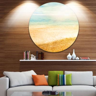 Design Art Summer Beach View with Fine Gold Sand Seascape Metal Artwork