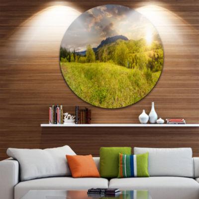 Designart Green Hillside Meadow Panorama LandscapeMetal Circle Wall Art