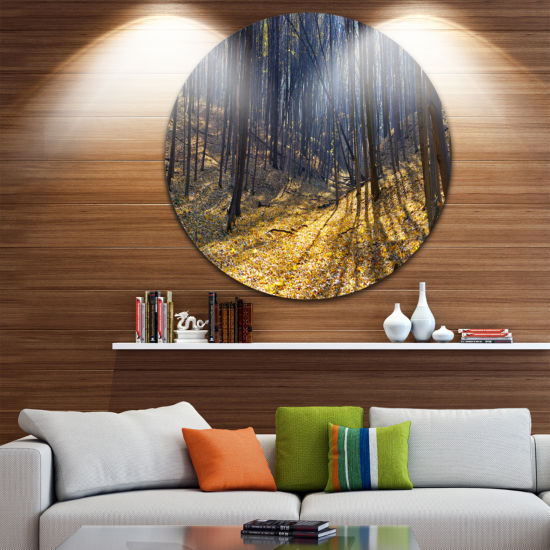 Designart Thick Autumn Forest Woods Oversized Forest Metal Artwork