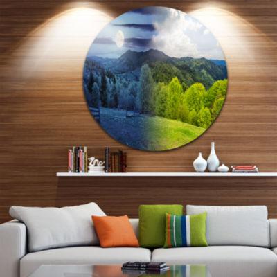 Designart Blue and Green Hillside Meadow LandscapeMetal Circle Wall Art