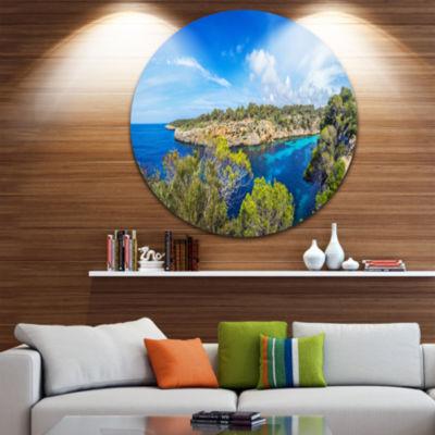 Designart Famous Cove of Cala Pi Mallorca Large Seascape Art Metal Circle Wall Art
