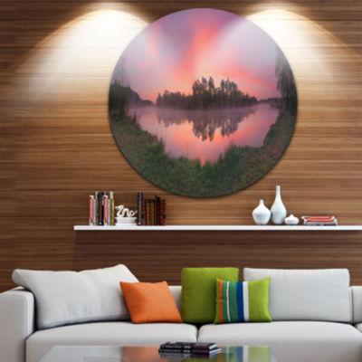 Designart Purple Tinged Lake Sunrise View Landscape Metal Circle Wall Art