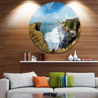 Designart Rocky Beach on the Sumba Island Large Seascape Art Metal Circle Wall Art