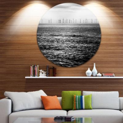 Designart Wind Turbines Black and White LandscapeMetal Circle Wall Art