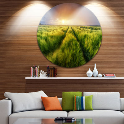 Designart Storm and Light on Meadow Landscape Metal Circle Wall Art