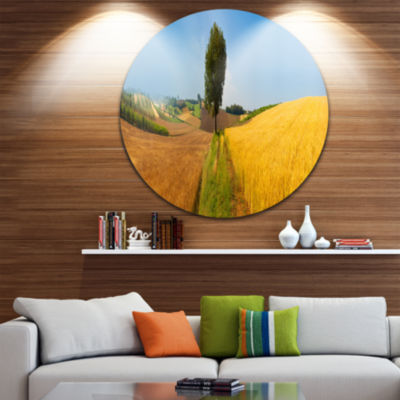 Designart Tuscany Wheat Field Hill Panorama Landscape Metal Circle Wall Art