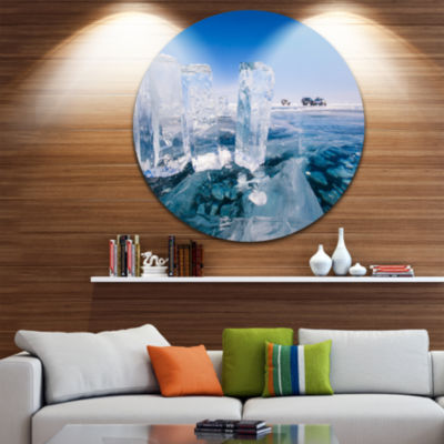 Designart Blue Ice and Off road Cars Landscape Metal Circle Wall Art