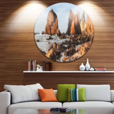 Designart Rocky Atlantic Coast in Brown Large Seascape Art Metal Circle Wall Art