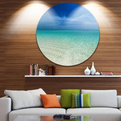 Designart Turquoise Ocean Under Blue Sky SeascapeMetal Artwork