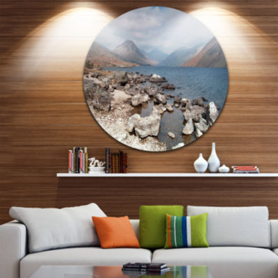 Designart Rocky Wast Water in Lake District Landscape Metal Circle Wall Art