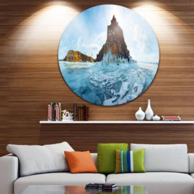 Designart Ice and Rocks of Lake Baikal Large Seascape Art Metal Circle Wall Art