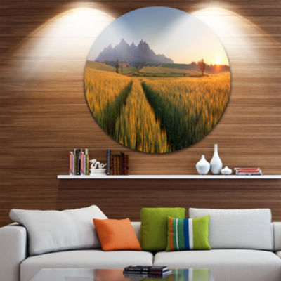Designart Summer Wheat Fields Slovakia LandscapeMetal Circle Wall Art