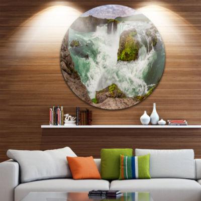 Designart Godafoss Waterfall Iceland Panorama Landscape Metal Circle Wall Art