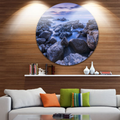 Designart Rocky Blue Seashore in Morning SeascapeMetal Artwork