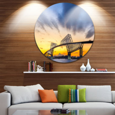 Designart Tokyo Gate Bridge Panorama Landscape Metal Circle Wall Art