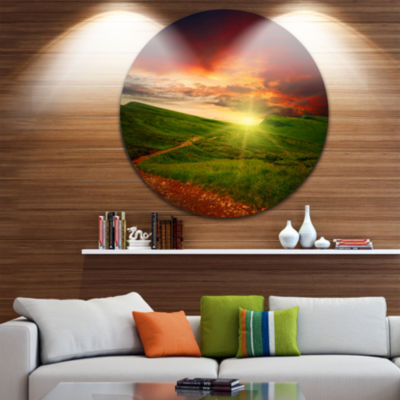 Designart Majestic Sunset and Path in Meadow Landscape Metal Circle Wall Art