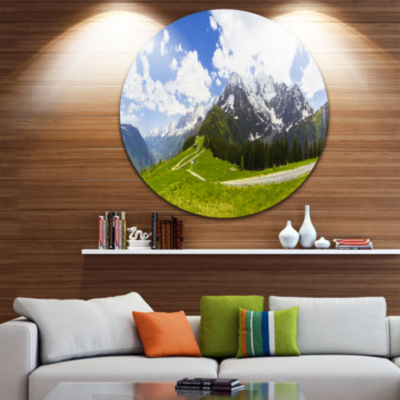 Designart Valley in French Alps Panorama LandscapeMetal Circle Wall Art