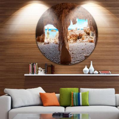 Designart Denia Las rotas Beach Caves Landscape Metal Circle Wall Art