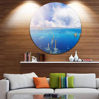 Designart Blue Salt Lake under Clouds Large Seascape Art Metal Circle Wall Art