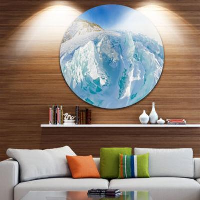 Design Art Blue Ice Mountains in Lake Baikal Siberia Landscape Metal Circle Wall Art