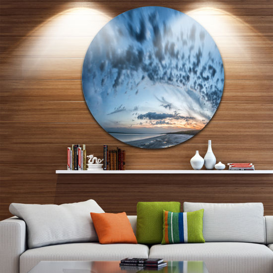 Designart Manych Rissua Lake Panorama Landscape Metal Circle Wall Art