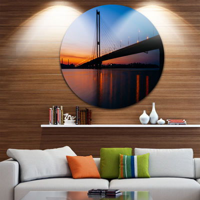 Designart Southern Bridge Panorama in Kiev Cityscape Metal Circle Wall Art