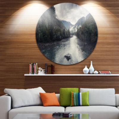 Designart Mountain River with Fog and Rain Seascape Metal Artwork