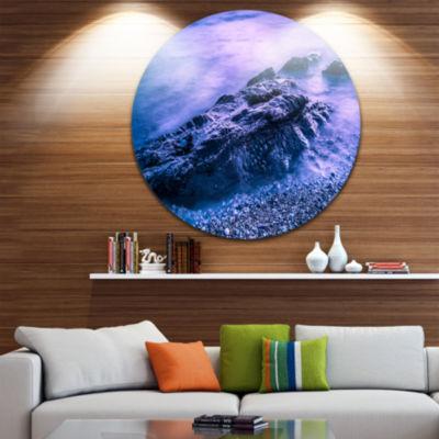 Designart Blue Slow Motion Sea Waves Seascape Metal Artwork