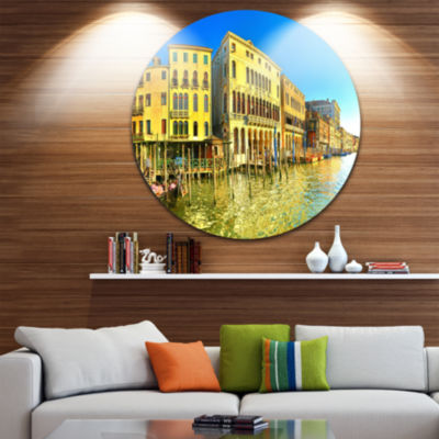 Designart Yellow Tinged Grand Canal Venice Cityscape Metal Circle Wall Art