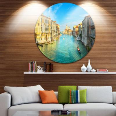Designart Vibrant Evening Venice Italy CityscapeMetal Circle Wall Art