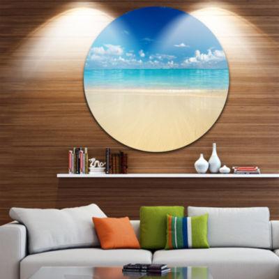 Designart Sand of Beach in Calm Caribbean Shore Seascape Metal Artwork