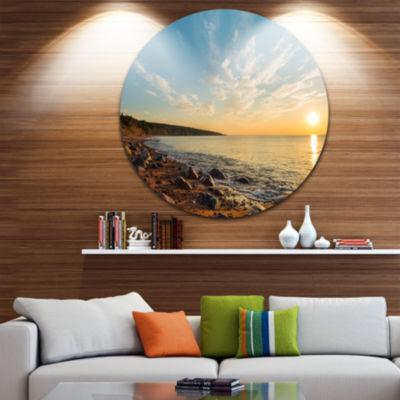 Designart Ocean Shore at Sunrise with Rocks Seascape Metal Artwork