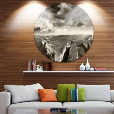 Designart Aerial View of Ocean Road Black Large Seascape Art Metal Circle Wall Art