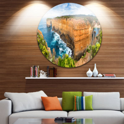Design Art Rocks and Vegetation of Victoria BeachLarge Seascape Art Metal Circle Wall Art