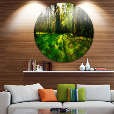 Designart Green Forest Sunset Panorama LandscapeMetal Circle Wall Art