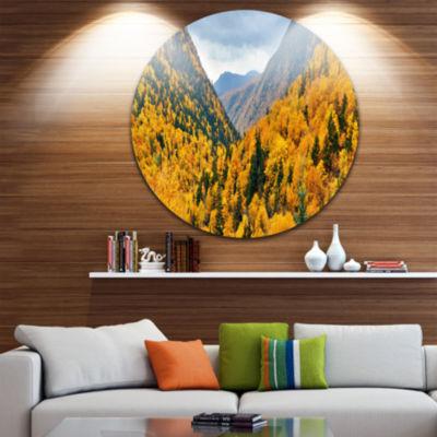 Designart Yellow Autumn Foliage Over Hills Landscape Metal Circle Wall Art