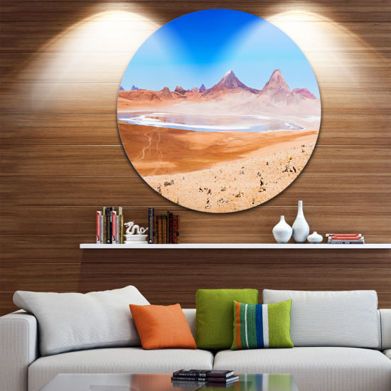 Designart Beauty Lake and Volcano on Altiplano Seascape Metal Artwork
