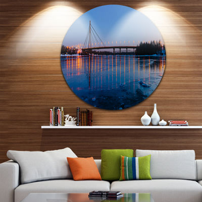Designart Moscow Bridge in Kiev Panorama CityscapeMetal Circle Wall Art