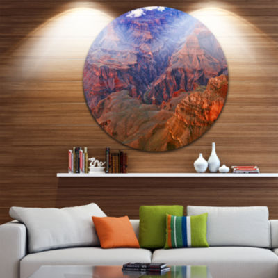 Designart Blue and Red Grand Canyon View LandscapeMetal Circle Wall Art