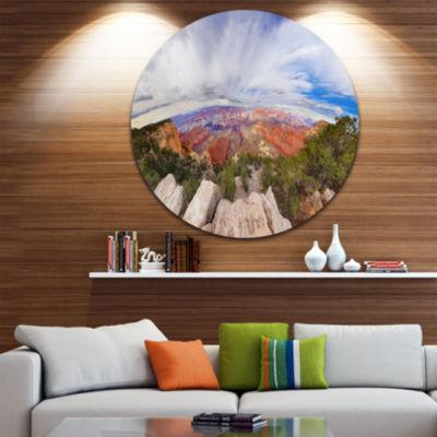 Designart Eye Looking at the Grand Canyon Landscape Metal Circle Wall Art