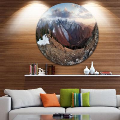 Designart Layers of Foggy Hills Panorama LandscapeMetal Circle Wall Art