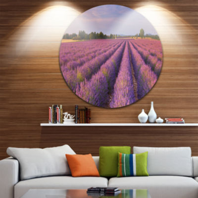 Design Art Lavender Flower Rows in France Landscape Metal Circle Wall Art