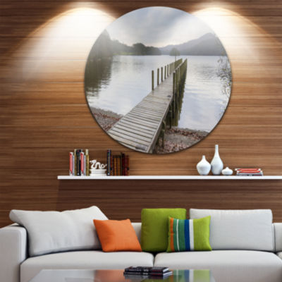 Designart Wooden Jetty on Lake District Wooden SeaBridge Metal Circle Wall Art