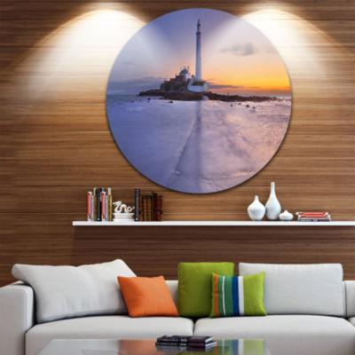 Designart Sunrise Over St. Mary s Lighthouse Seascape Metal Artwork