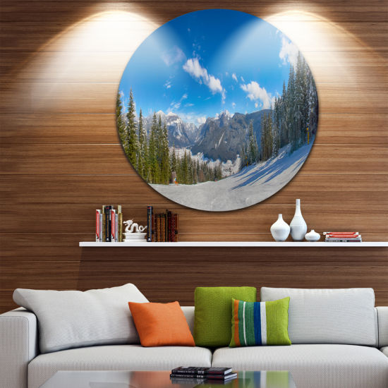 Designart Austrian Alps Seen From Ski Slope Landscape Metal Circle Wall Art