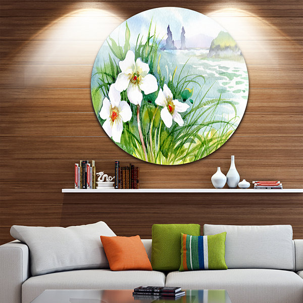 Designart Blooming Flowers on Summer River Landscape Metal Circle Wall Art